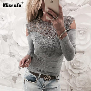 New Spring Sexy Lace Blouses Shirts Women Patchwork Off Shoulder Tops 2018modkily-modkily