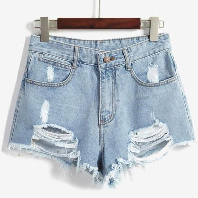 2018 Brand Vintage ripped hole fringe blue denim shorts women Casual pocketmodkily-modkily