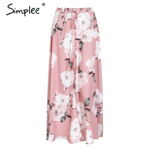 Simplee Tassel floral print long skirt women Button tie up beach maximodkily-modkily
