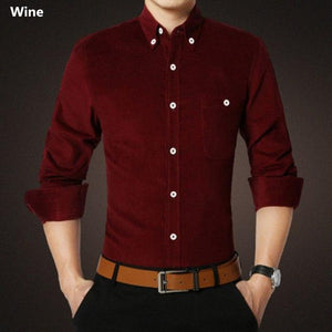 2018 Mens Slim Fit Stylish Dress Long Sleeve Shirts Corduroy Solid Colormodkily-modkily