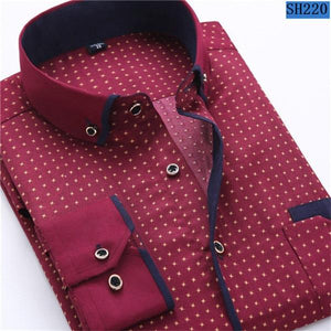2018 Men Fashion Casual Long Sleeved Printed shirt Slim Fit Male Socialmodkily-modkily