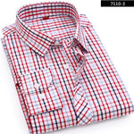High Quality 2018 Men's Casual Plaid Shirts Long Sleeve Slim Fit 100%modkily-modkily