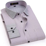 Men's Regular-fit Wrinkle Resistant Fine Striped Shirt with Contrast Collar Pocket atmodkily-modkily