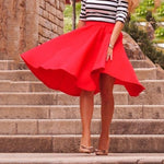 2018 European Style High Waist Solid Pleated Skirts Womens Casual Elgant Redmodkily-modkily