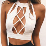 Articat Sexy Hollow Out Camisole Crop Top Women Summer Beach Cami Backlessmodkily-modkily