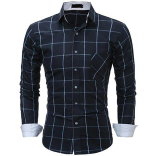Dress Shirts 2018 New Fashion Brand Men Clothes Slim Fit Men Longmodkily-modkily