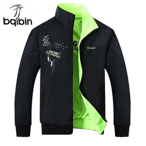 2018 The New Jacket Male Spring Autumn Zipper Embroidery Printing Double Surfacemodkily-modkily