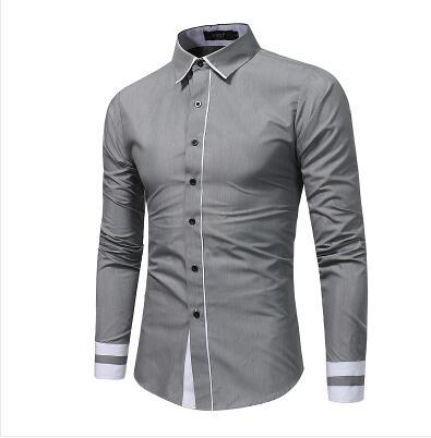 2018 New Fashion Men's Casual Shirt Slim Casual Solid Color Long Sleevemodkily-modkily