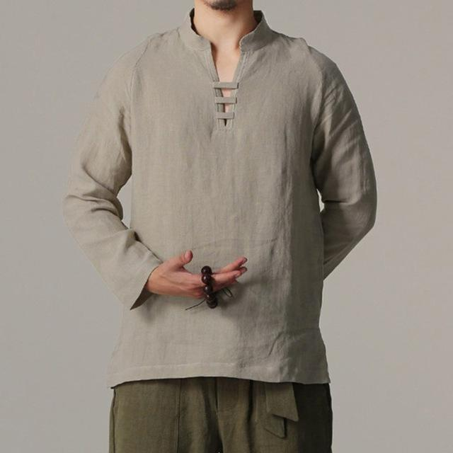 Chinese Style Linen Shirt Men collarless Camisa Masculin Shirt Flax Summermodkily-modkily