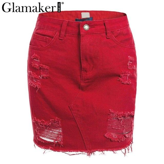 Sexy fringe ripped hole mini summer jeans skirt Short tassel denimmodkily-modkily
