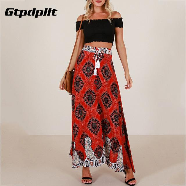 2018 Summer Beach Skirt Bohemian Lace Up Split Long Skirt Printmodkily-modkily