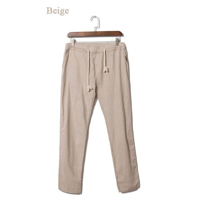 LILL 5XL Brand Summer Linen Casual Pants Men Breathable Thin Flax Trousersmodkily-modkily