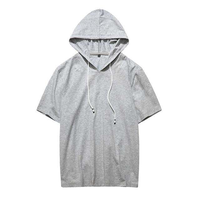 2018 Solid Hoodies Men Summer Fashion Short Sleeve Hooded Sweatshirt Men Hipmodkily-modkily