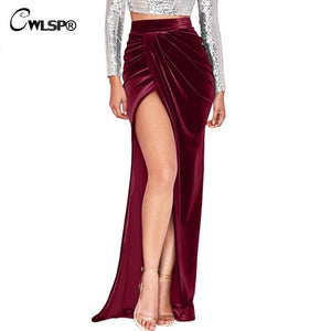CWLSP Velvet Floor length Long Skirts Womens jupe side Split Pleated Skirtsmodkily-modkily