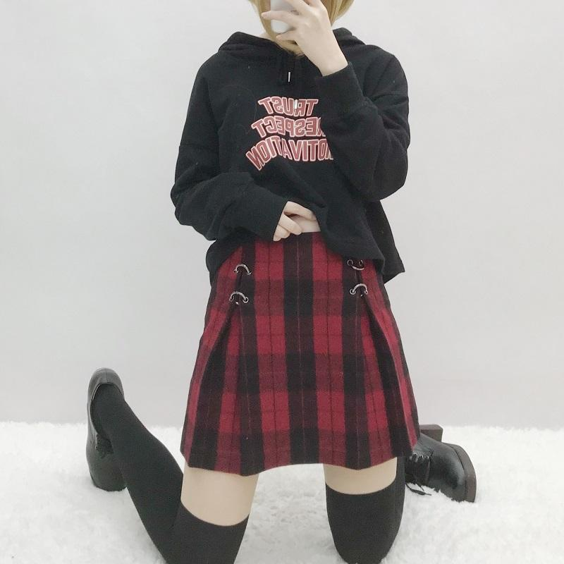 2018 Summer Autumn Short Skirts Women Harajuku Retro Rock Punk Black Redmodkily-modkily