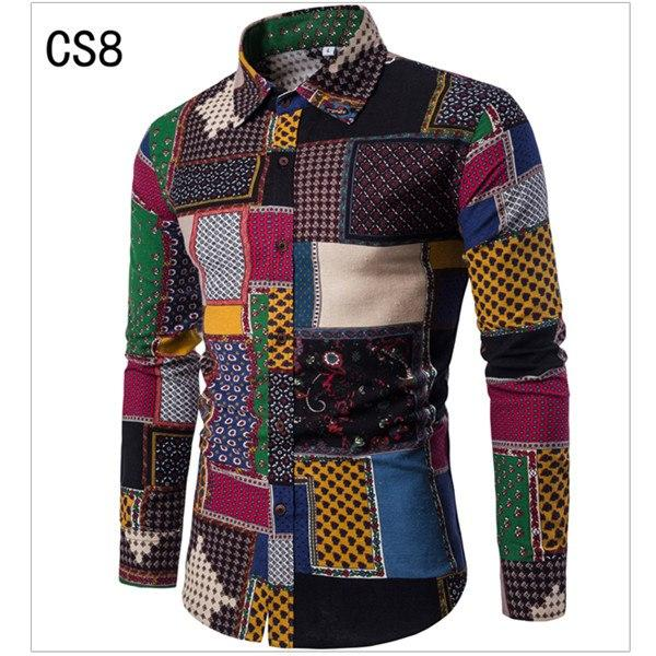 2018 Fashion Spring Autumn Casual Men's Shirts Slim Floral Print Linenmodkily-modkily