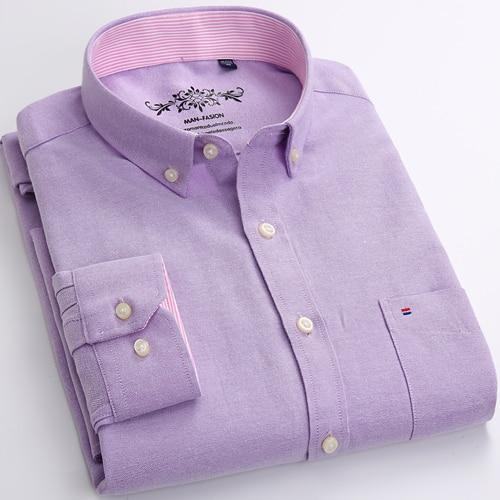 Mens Long Sleeve Solid Oxford Dress Shirt with Left Chest Pocket High-qualitymodkily-modkily