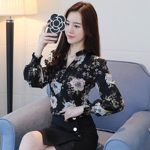 2018 new spring long sleeved blouses fashion slim casual print plus sizemodkily-modkily