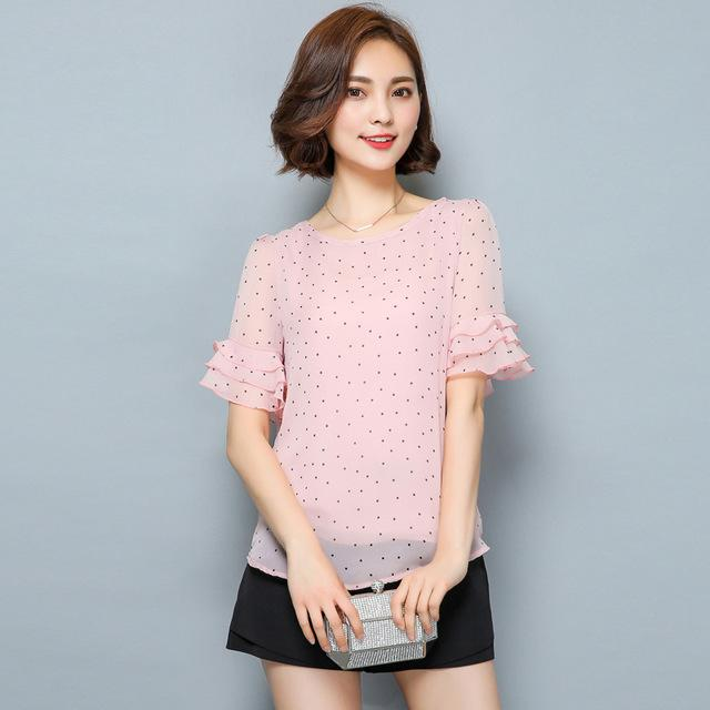 2018 Women Short Sleeve Ciffon Blouse Fashion Casual Shirts Loose Tops Polkamodkily-modkily