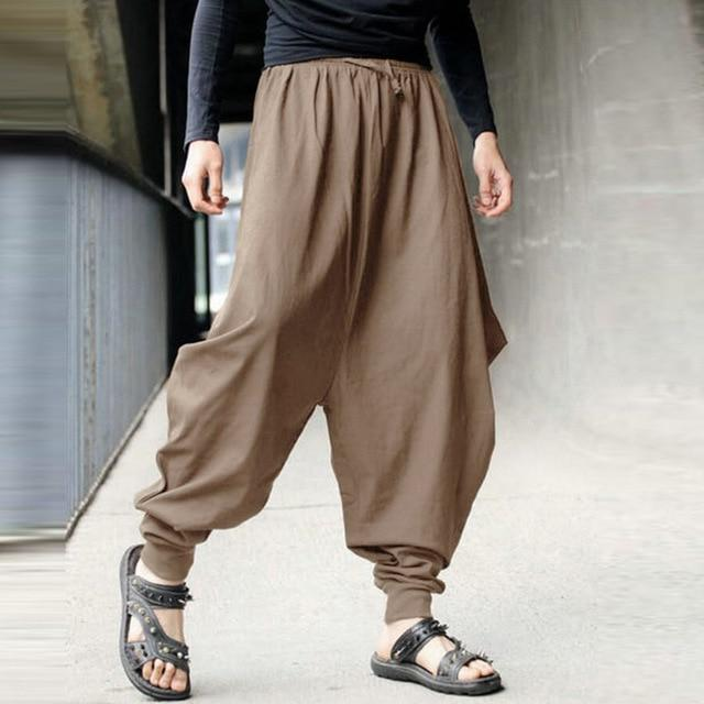 Men's Harem Baggy Pants Men Hakama Linen Casual Wide Leg Mensmodkily-modkily