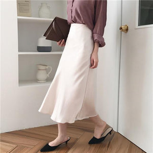 summer elegant high waist women long skirt solid A-line faldas mujer femalemodkily-modkily