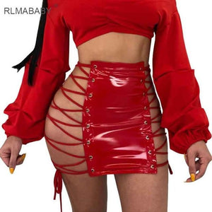 Sexy Eyelets Lace Up PU Leather Skirts High Waist Hollow Outmodkily-modkily