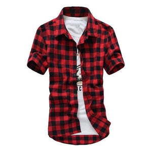 Men Plaid Shirts Casual Teenage Short Sleeve Turn Down Collar Slim Fitmodkily-modkily