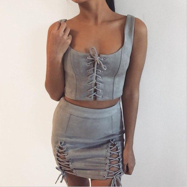 2017 Women Ladies Suede Party A-Line High Waist Lace Up Bandage Bodyconmodkily-modkily
