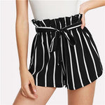 Self Tie Waist Frill Trim Striped Shorts 2018 Summer High Waistmodkily-modkily