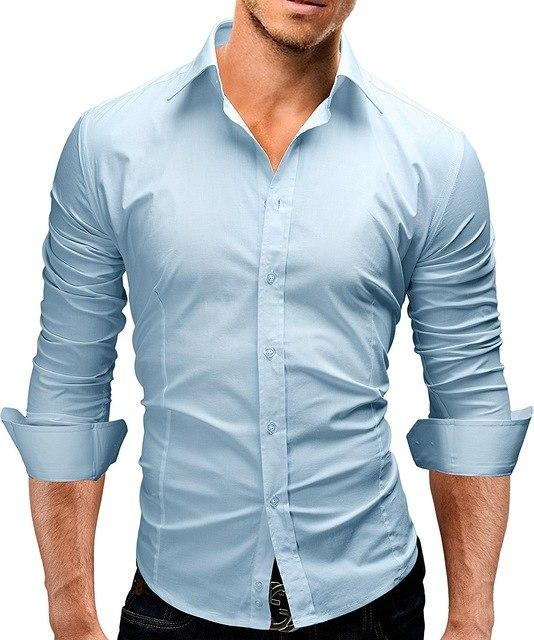 Brand 2018 Fashion Male Shirt Long-Sleeves Tops Slim Casual Solid Color Mensmodkily-modkily