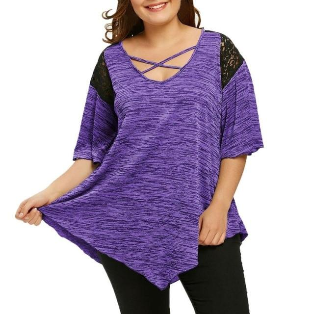 Big Size Flare Sleeve Tunic Asymmetrical Blouse Shirt Women Patchwork V-Neck Halfmodkily-modkily