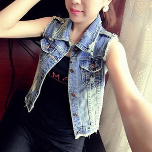 Women's Fashion Casual Lapel Jeans Vest Short Style Denim Waistcoat Outerwearmodkily-modkily