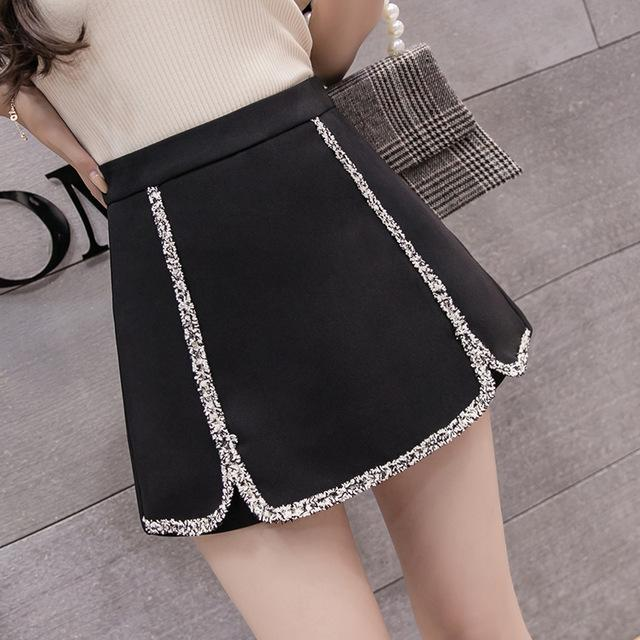 2018 New Women Lacework Shorts Skirts Female Fashion High Waist Shorts Black/Whitemodkily-modkily