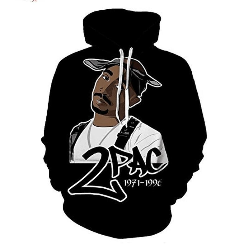 Hip Hop 3d Hoodies Sweatshirt For Men Autumn Pullovers Print Rapper Tupacmodkily-modkily