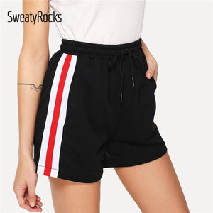 Striped Tape Side Drawstring Waist Shorts 2018 Summer Mid Waist Casualmodkily-modkily