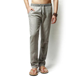 Straight Men Pants Linen Drawstring Flax Pants Full Length solid Linen Cottonmodkily-modkily