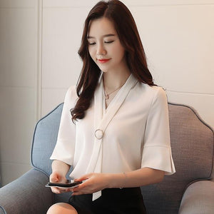 2018 new summer office lady style fashion short sleeved blouses women topsmodkily-modkily