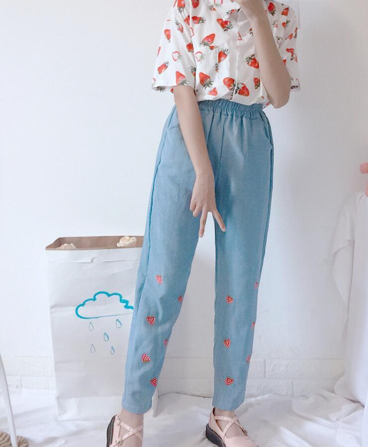 Summer women Cute Strawberry Embroidery Jeansmodkily-modkily