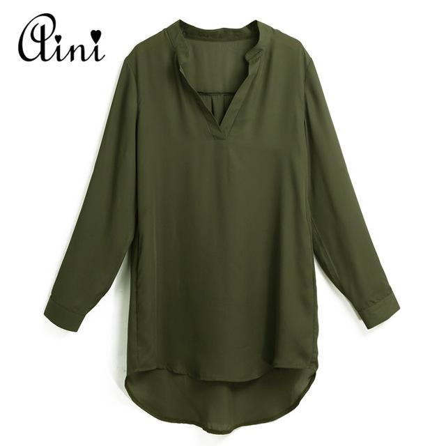 Plus Size 5XL Women Tops and Blouse Shirt V Neck Pockets Rollmodkily-modkily
