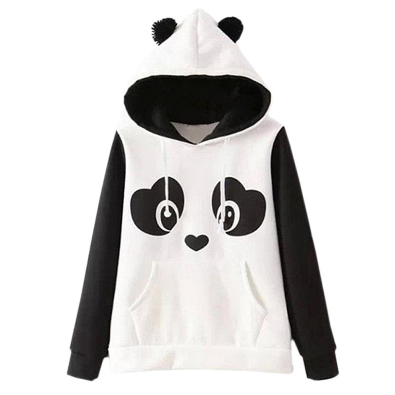 2017 Autumn Kawaii Hoodies Sweatshirts Fashion Cartoon Printed Panda Women Hooded Sweatshirtmodkily-modkily