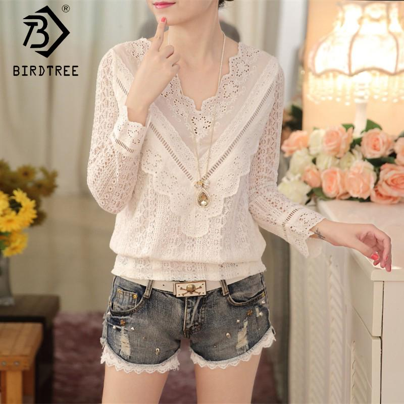 Spring 2018 Solid White Lace Blouse Women Shirts V-neck Top Lace Sweetmodkily-modkily