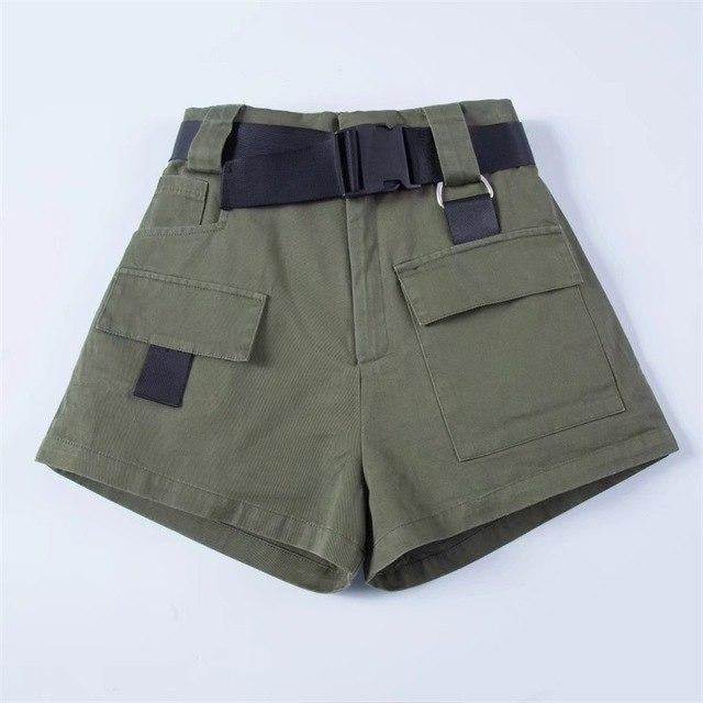 Women High Waist Pockets Shorts with Belt in Khaki & Black &modkily-modkily