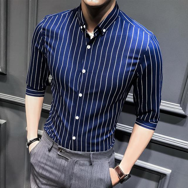 2018camisa social masculina brand clothing men summer casual shirt half sleeve fashionmodkily-modkily