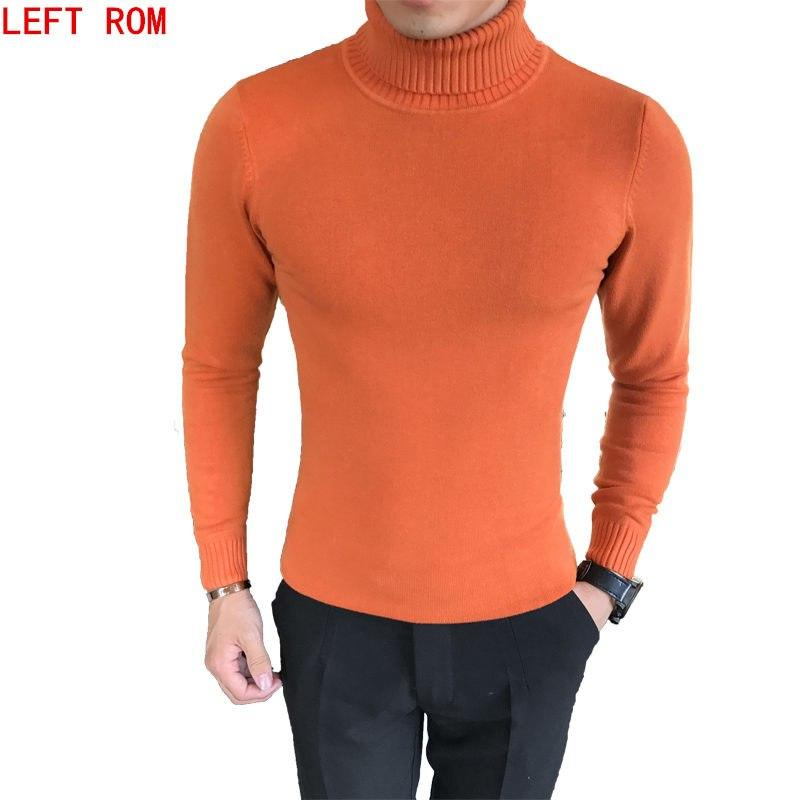 Male Sweater Pullover Male Brand Casual Slim Sweaters Men Solid High Lapelmodkily-modkily