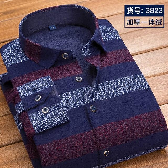 2017 Autumn and Winter Burst Models Men's Printing Warm Shirt in themodkily-modkily
