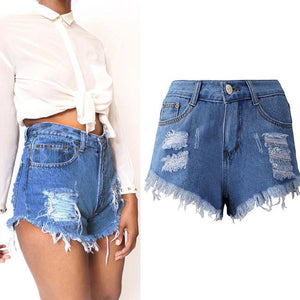 Women Sexy Tassel Hole Shorts Jeans Denim Short Solid Ripped Women'smodkily-modkily