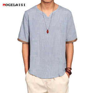 Linen Men Shirts Chinese Culture Men's Shirt Slim Short Sleeve Brand 2018modkily-modkily
