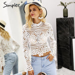 Simplee Elegant lace crop top blouse shirt Women Flare sleeve white blousemodkily-modkily