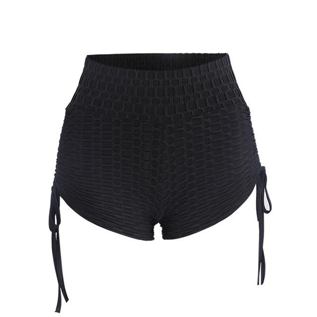 Solid Black High Waist Shorts Women Summer Lace Up Push Upmodkily-modkily