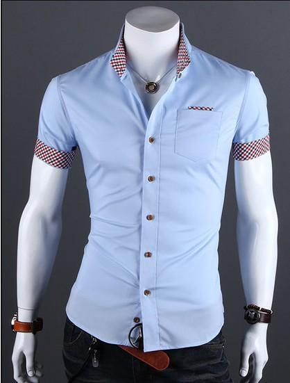 Fashion 2018 style summer pure color Men's Casual Shirts Plaid Stitching Designmodkily-modkily